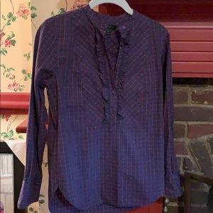 Popover plaid blouse with ruffle detail